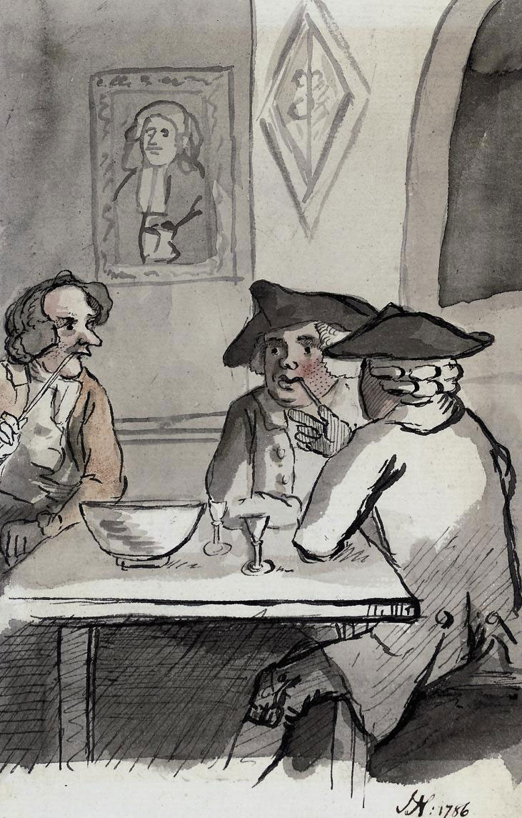 Conversation round the punch bowl (illustrated); Figures in a coffee house; and Taking tea