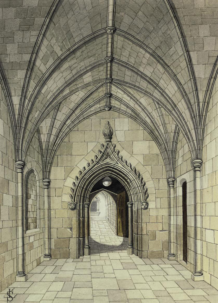 Entrance to the cloisters from Dean's Yard, Westminster (illustrated); Bell tower of St. Stephen's Chapel, Westminster; Courtyard of the Deanery, Westminster; The ancient gateway, Dean's Yard; and Judge Jeffries' House, Duke Street, Westminster