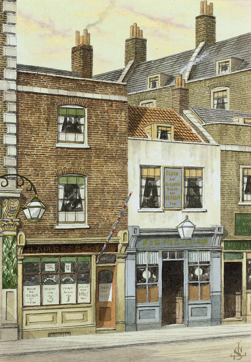 Mrs Gamp's Lodging, Kingsgate Street, Holborn from 'Martin Chuzzlewit' (illustrated); The Anchor, Bankside; Duke Street, Smithfield; The Town of Ramsgate, Wapping; Stewarts Place, Clerkenwell Green; and St John's Gate from Jerusalem Passage, Clerkenwell