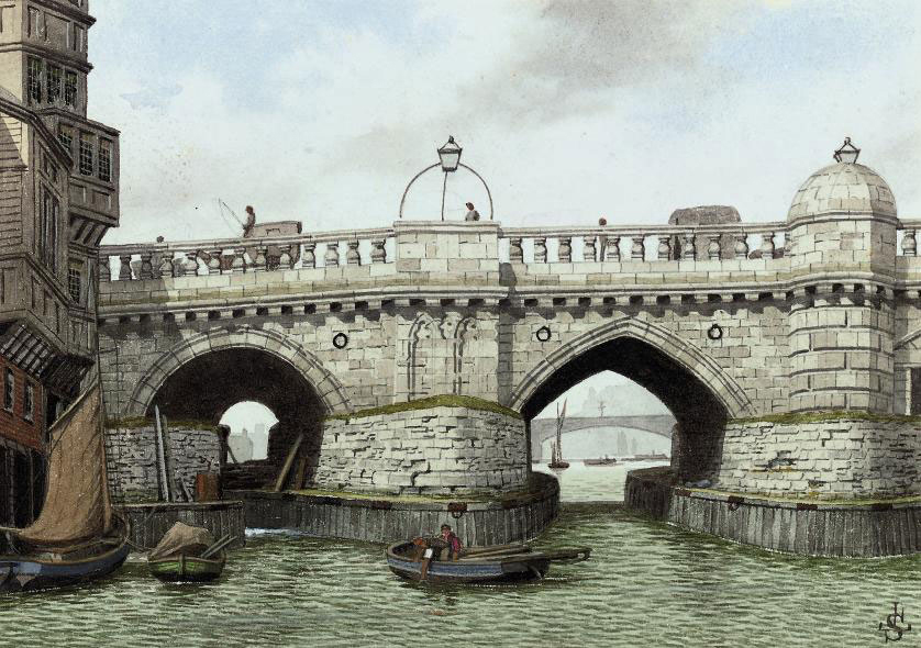 The Southwark end of old London Bridge (illustrated); and five other riverside scenes including: The backs of old houses near Lambeth Palace; Old Wapping Police station; Old houses near Folly Ditch, Rotherhithe; Cherry Garden stairs, Rotherhithe; and Middle Row, Jacob's Island, Rotherhithe, from 'Oliver Twist'