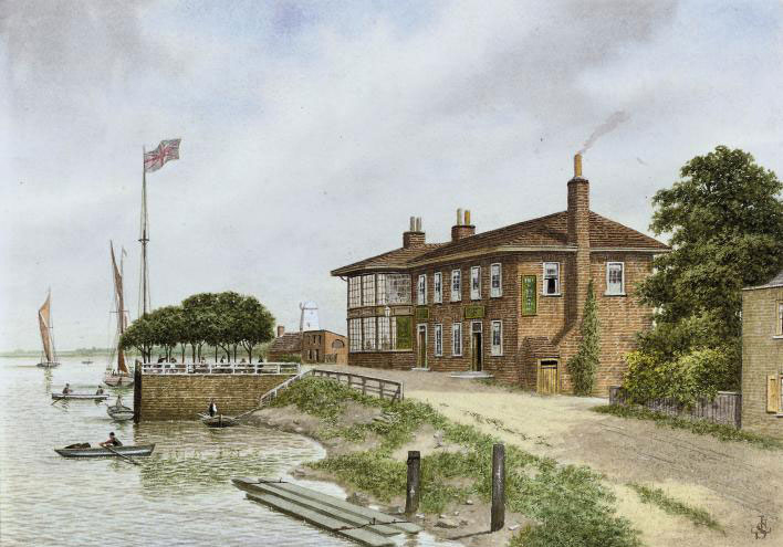 """The """"Red House"""", Battersea (illustrated); and six views of Chelsea inns including: The Clock House; The Swan; The World's End Inn; The old Rose Tavern; The Adam and Eve Tavern; and The old Gun Inn"""