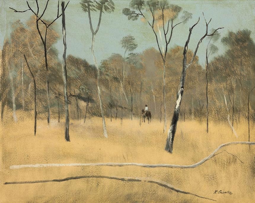 A stockman on horseback in the bush
