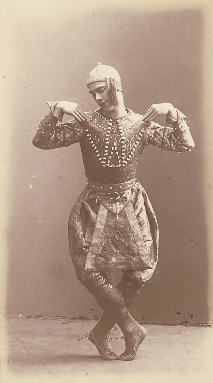 Nijinsky in costume for the 'Danse Siamoise' in Diaghilev's 'Les Orientales', 1910