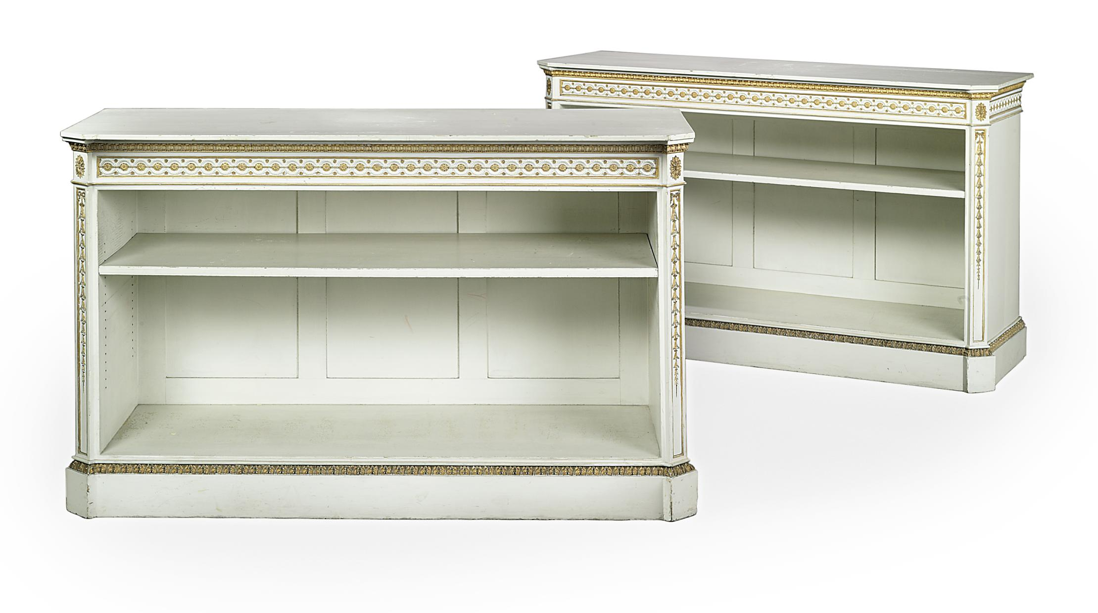 A PAIR OF EARLY VICTORIAN WHITE-PAINTED AND PARCEL-GILT OPEN BOOKCASES