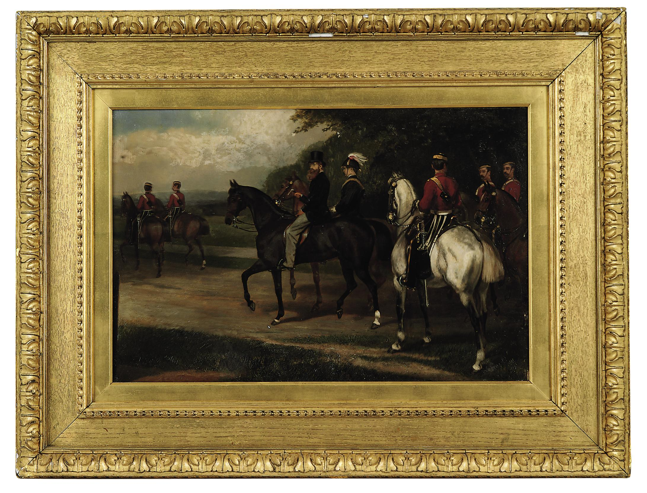 Portrait of John Poyntz, 5th Earl Spencer (1835-1910) riding with troopers in Dublin