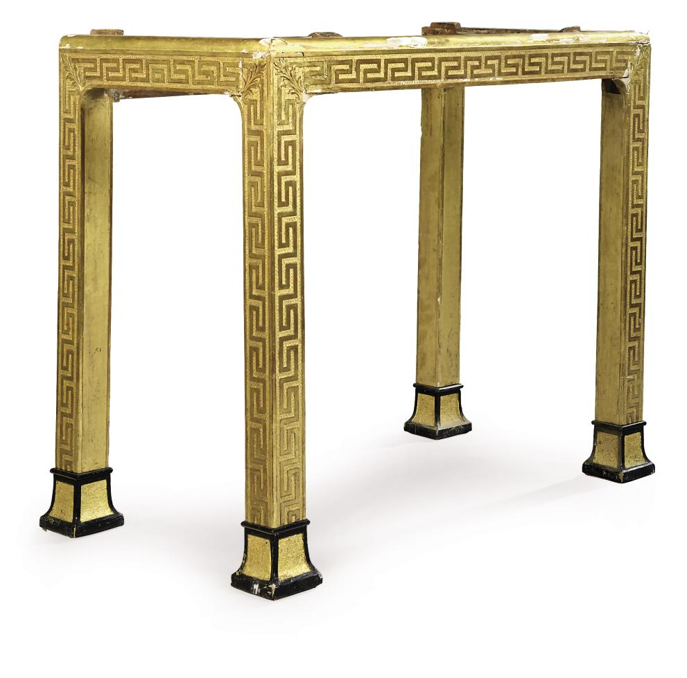A GEORGE I GILTWOOD, GILT-COMPOSITION AND PART EBONISED CABINET STAND