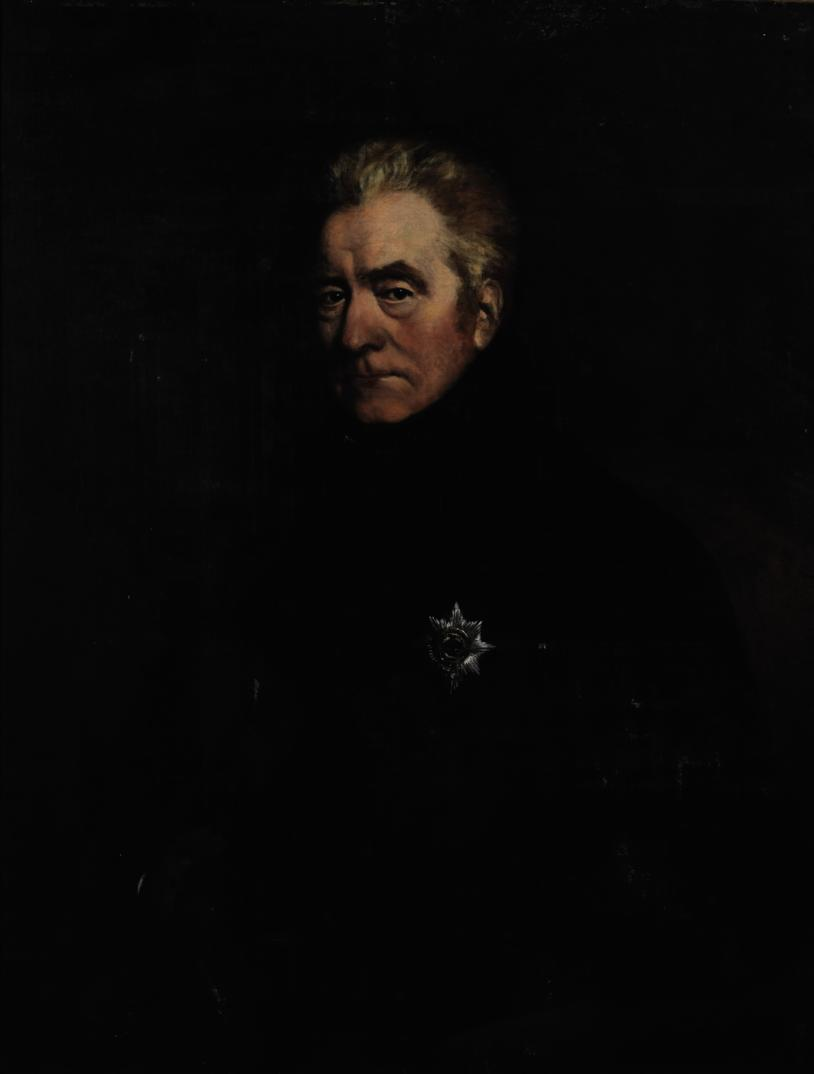 Portrait of George John, 2nd Earl Spencer, K.G. (1758-1834), half-length, seated, wearing a black coat with a Garter Star