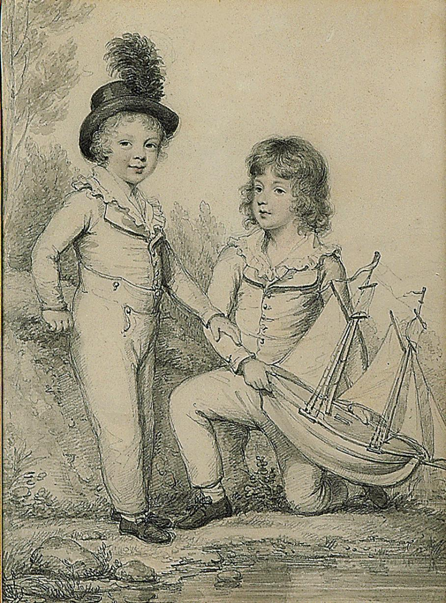 Double portrait of Frederick Seymour and Sir Horace Seymour K.C.H., holding at toy boat