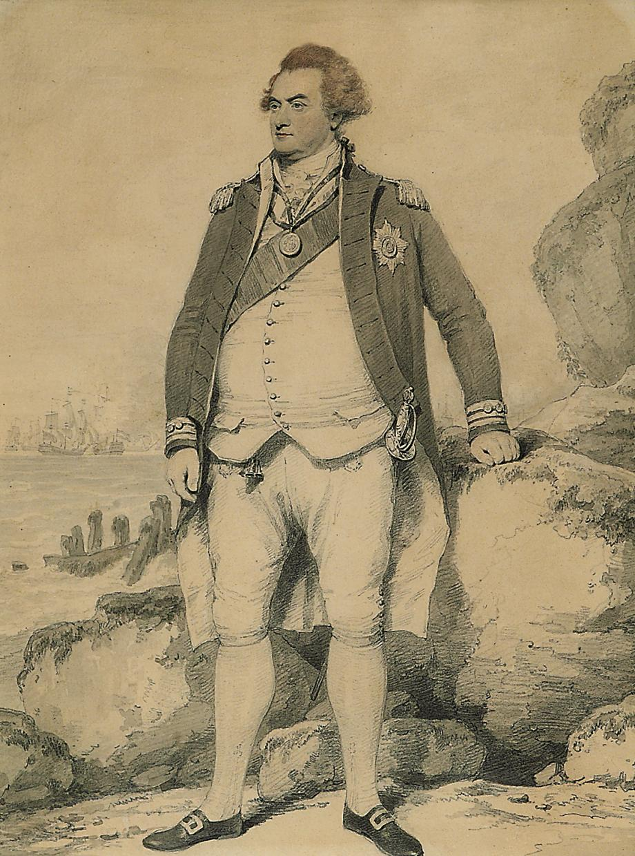Portrait of Adam Duncan, 1st Viscount Duncan (1731-1804), full-length, in naval uniform, a sea battle beyond