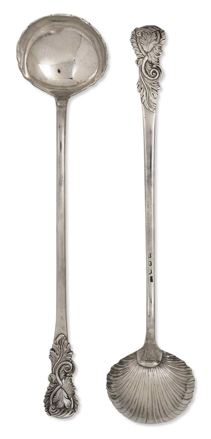 TWO GEORGE II SILVER SOUP LADLES