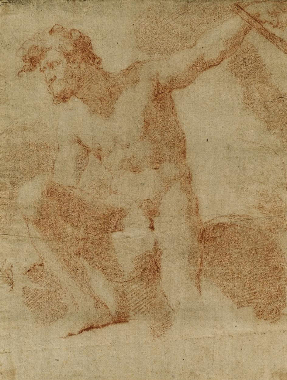 An academic male nude, seated on a rock, leaning to the left