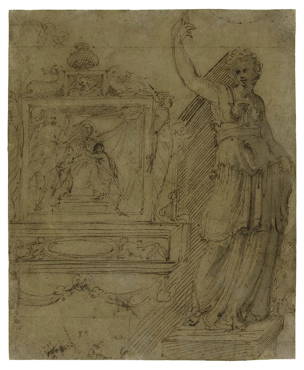 Design for the wall of a chapel, with a panel of the Madonna and Child, a further study of an allegorical female figure