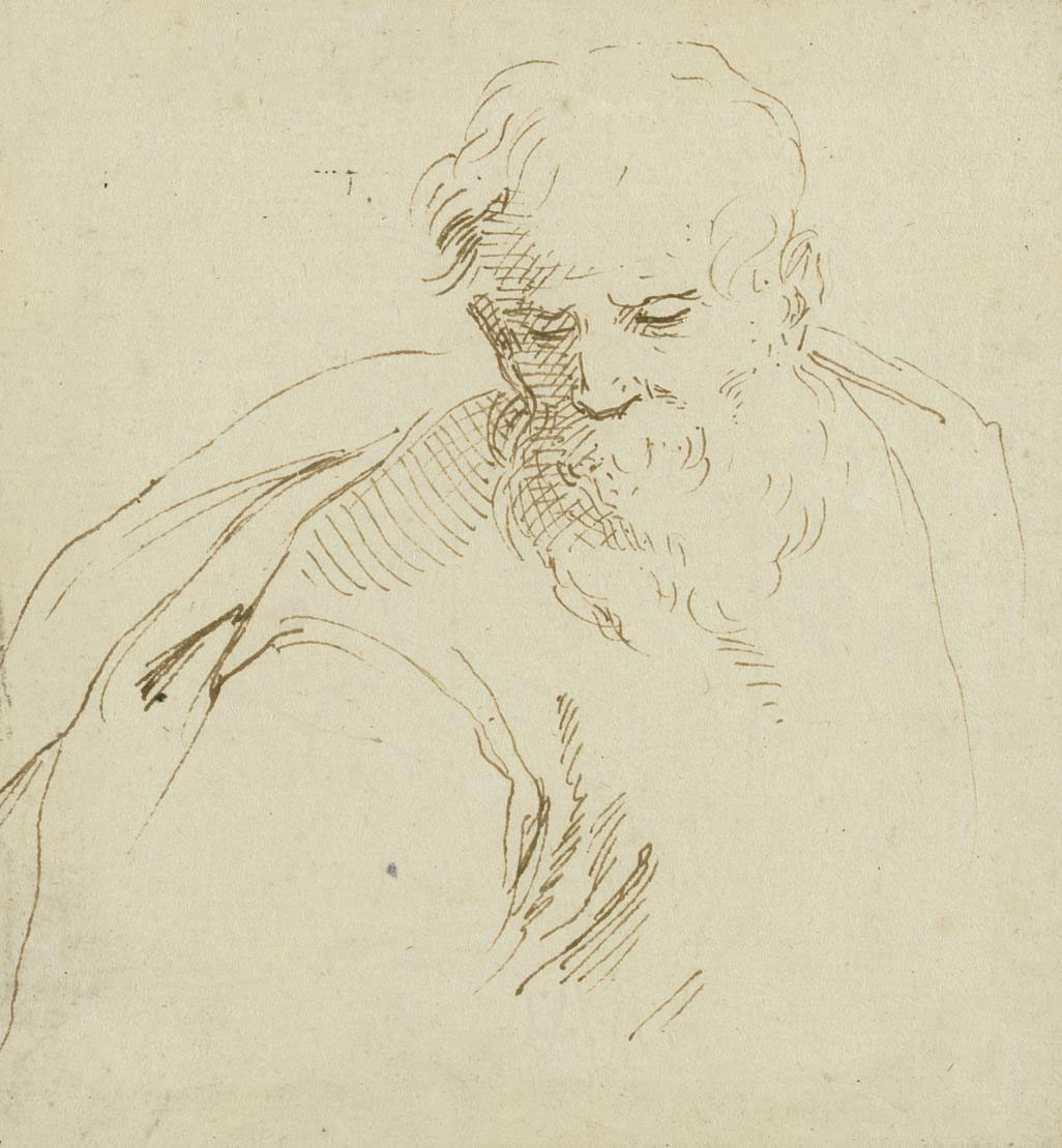 Head of a bearded man; A youth riding a horse; and Study of two figures, one mounted