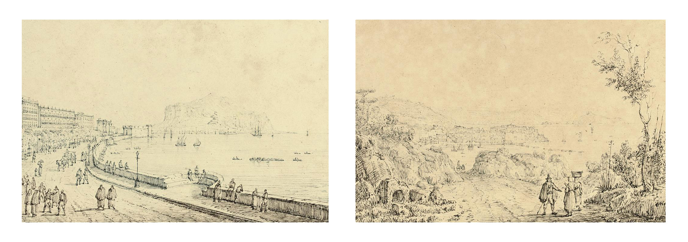 View of the harbour of Palermo; and View of Pozzuoli from Monte Nuovo on the Campi Flegrei