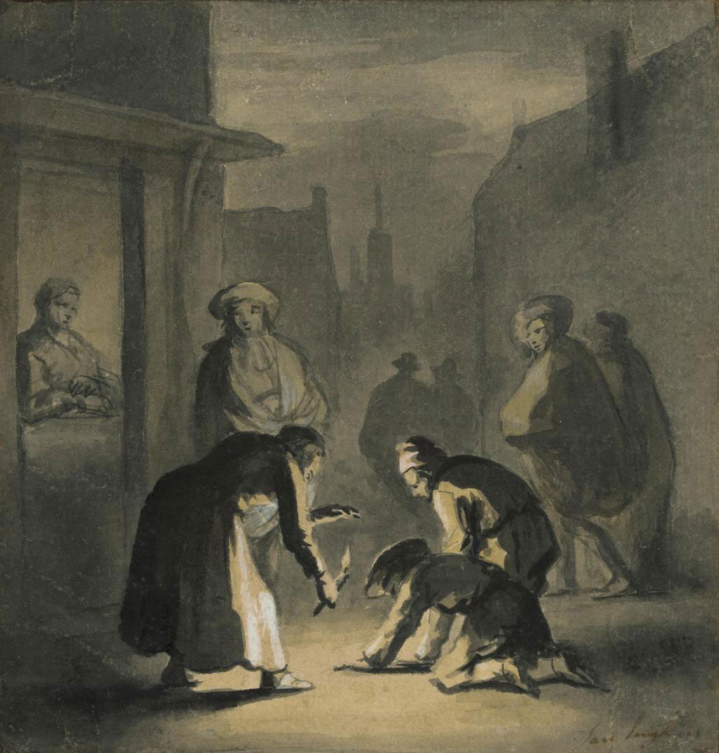 Figures gathered in a street at night
