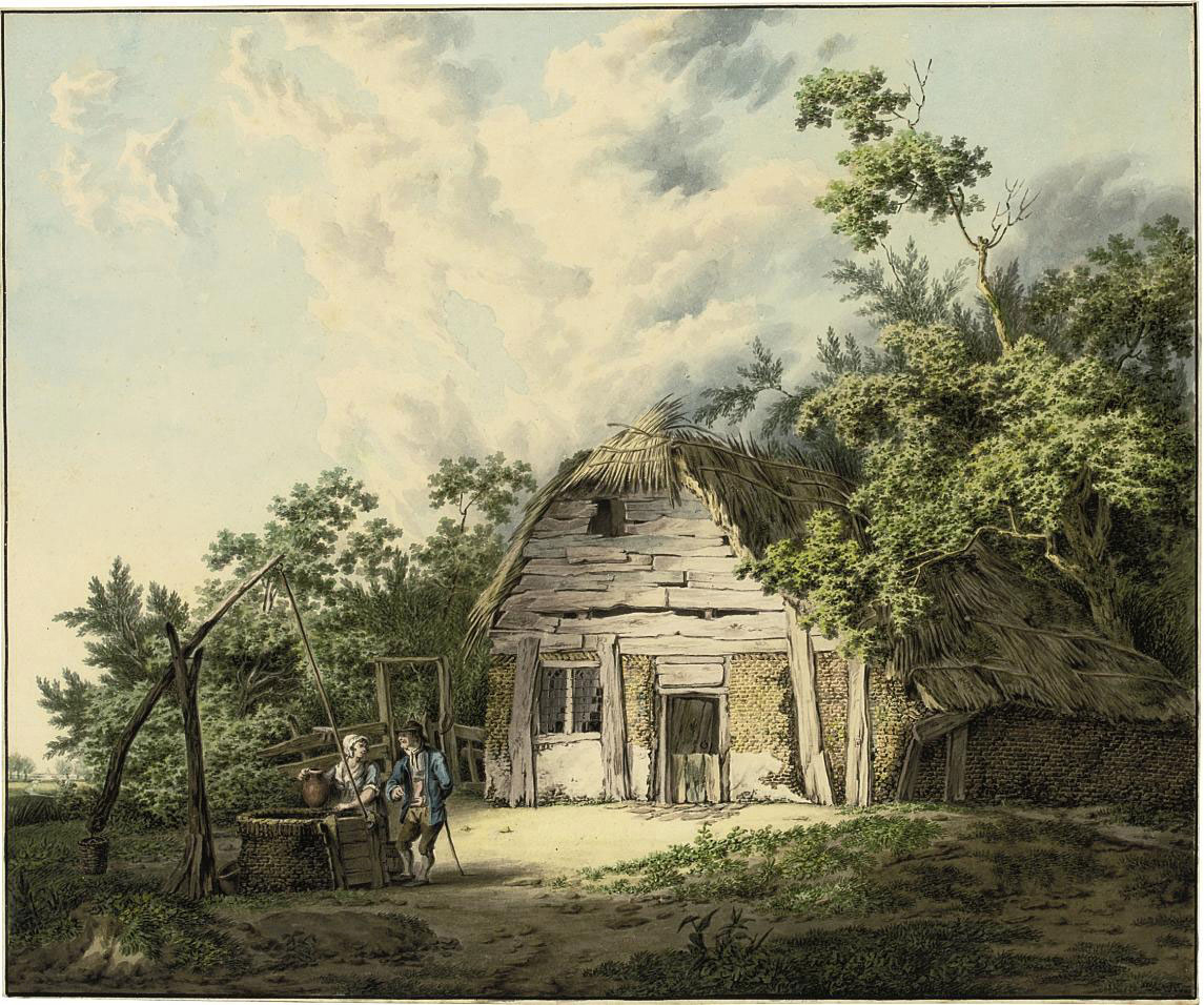 A ruined farmhouse in a wooded landscape, with a couple conversing by a well