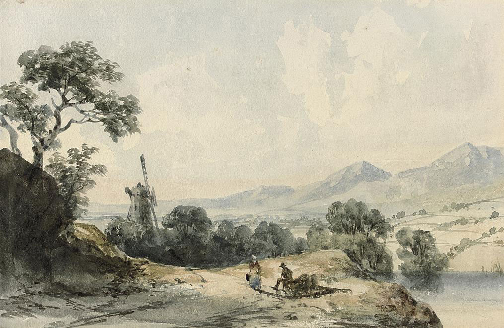 A windmill in Cumberland with two figures resting in the foreground