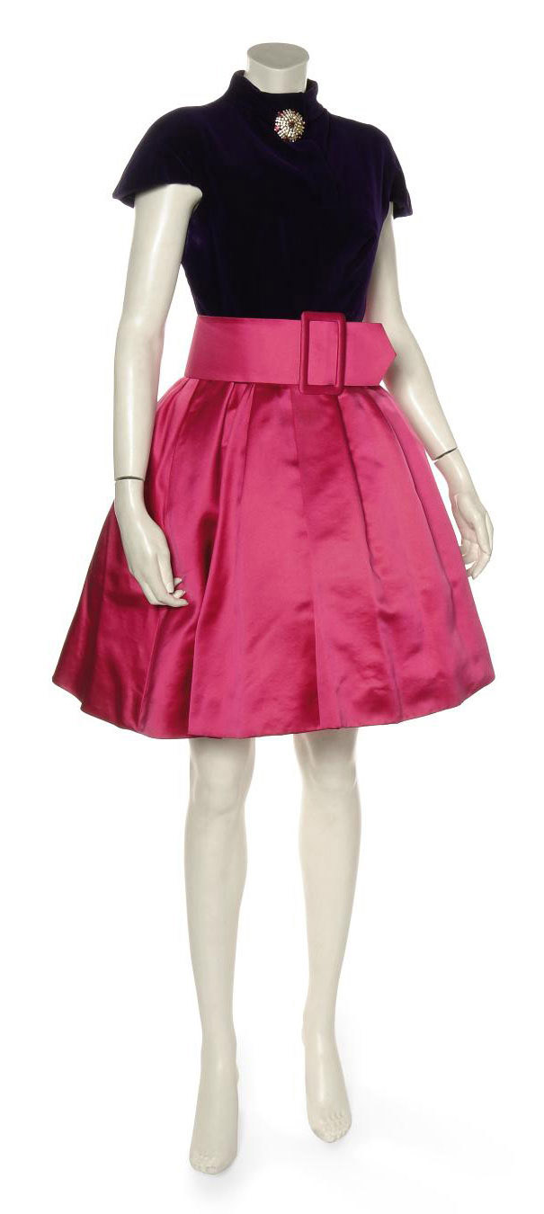 A COCKTAIL DRESS OF PURPLE VELVET AND FUSCHIA PINK SATIN