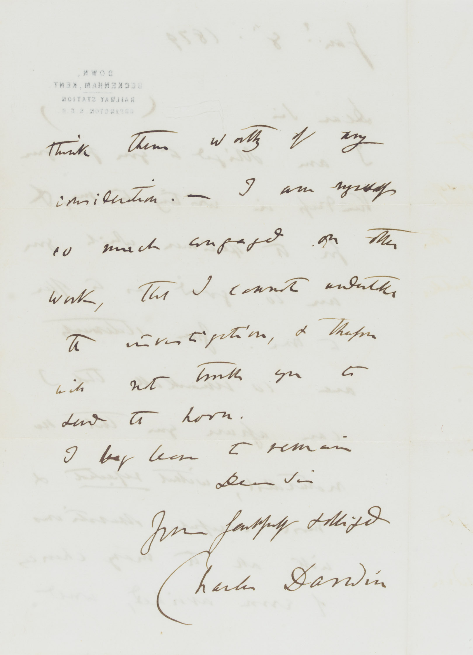 DARWIN, Charles (1809-1882). Autograph letter signed ('Charles Darwin') to Baron Antonio Mendola (in Favara, Sicily), Down, 8 January 1879, thanking him for a specimen, and going on 'Your statements are so remarkable that I can assure you that no naturalist, without repeated & most careful observations with all the many chances of error avoided, would think them worthy of any consideration'; Darwin is too busy to undertake the investigation himself, 'and therefore will not trouble you to send the horn', two pages, 8vo, on a bifolium; envelope. Provenance: by descent from the recipient.