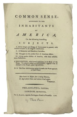 an analysis of common sense by thomas paine in new york Primary source set & links guide: founding documents historical background new york: thomas greenleaf [september 14, 1789] rare book & special paine, thomas common sense pamphlet philadelphia: r bell, 1776.