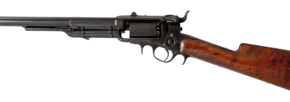 A RARE EARLY PRODUCTION .36 'MODEL 1855' FIRST MODEL SIX-SHOT SINGLE-ACTION REVOLVING PERCUSSION SPORTING RIFLE