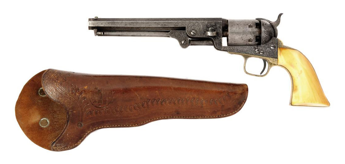 A FACTORY ENGRAVED .36 'MODEL 1851' SIX-SHOT SINGLE-ACTION PERCUSSION NAVY REVOLVER