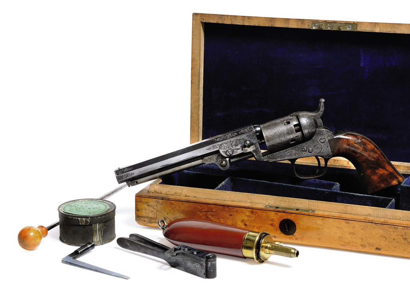 A FINE MAPLE CASED FACTORY ENGRAVED .31 'MODEL 1849' FIVE-SHOT SINGLE-ACTION PERCUSSION POCKET REVOLVER
