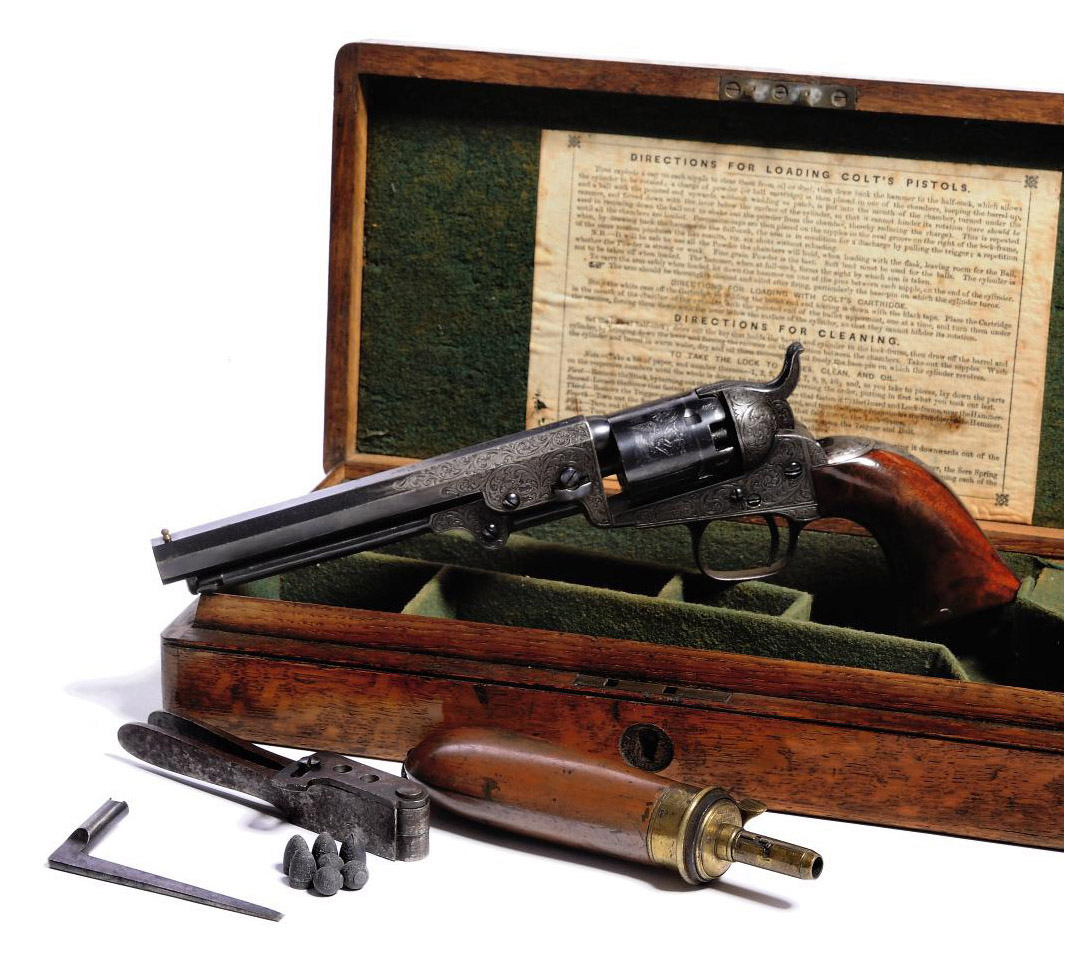 A CASED FACTORY ENGRAVED .31 'MODEL 1849' FIVE-SHOT SINGLE-ACTION PERCUSSION POCKET REVOLVER