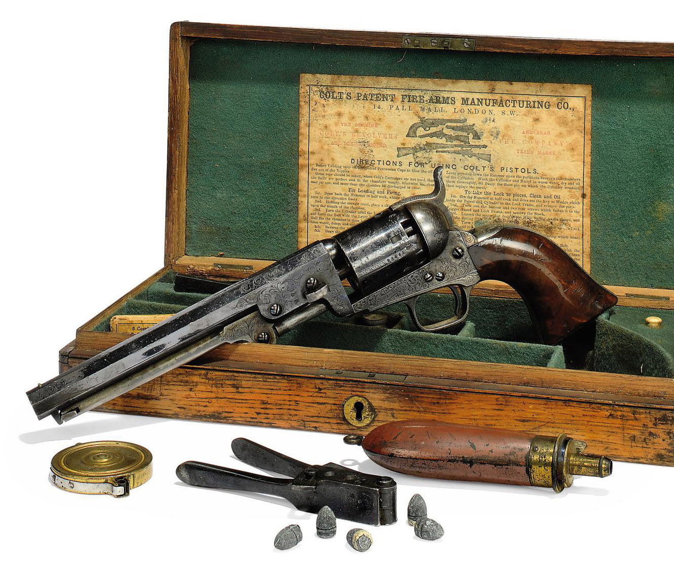 A FINE CASED FACTORY ENGRAVED .36 'MODEL 1851' SIX-SHOT SINGLE-ACTION PERCUSSION NAVY REVOLVER