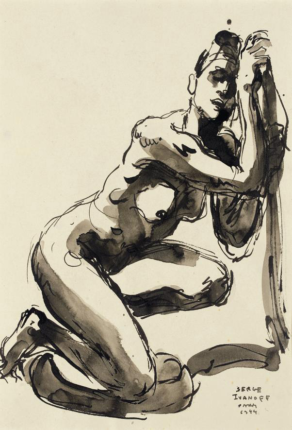 Crouching female nude