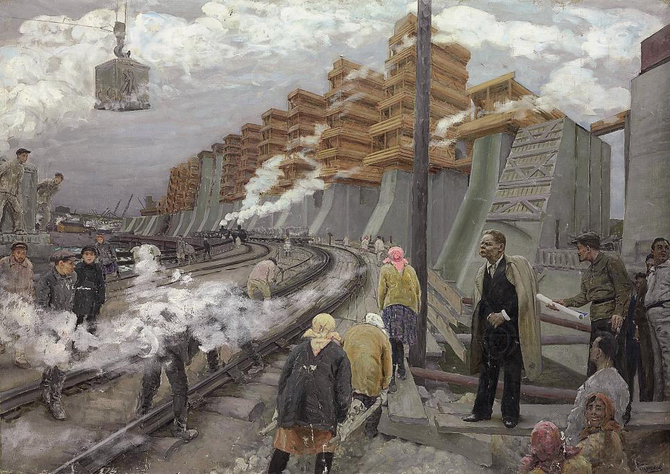 Kirov inspecting the building of the Dnepr HES
