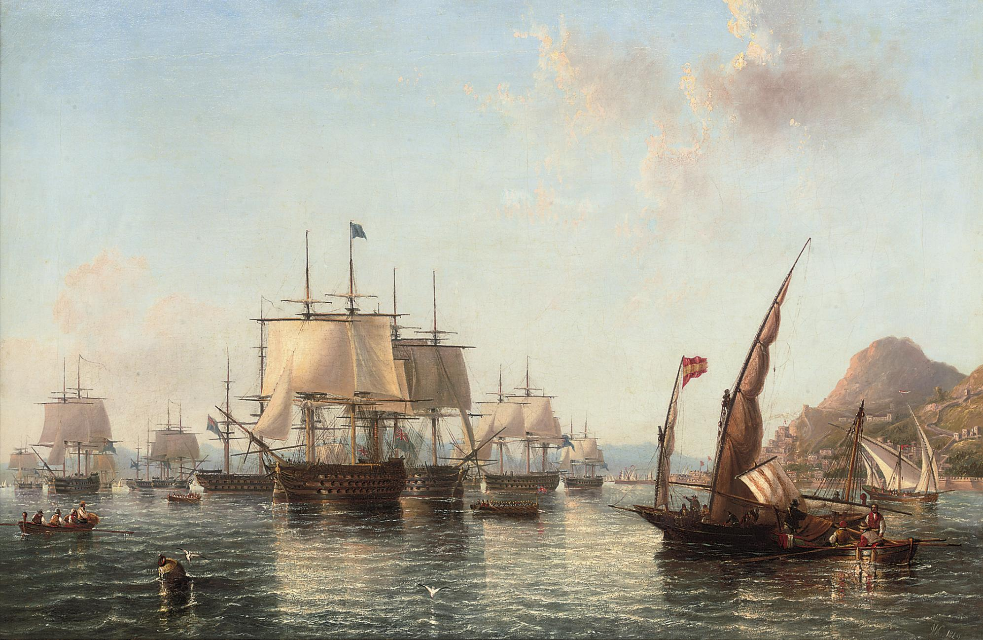 Admiral Lord Exmouth's fleet preparing to leave Gibraltar for the battle of Algiers, August 1816