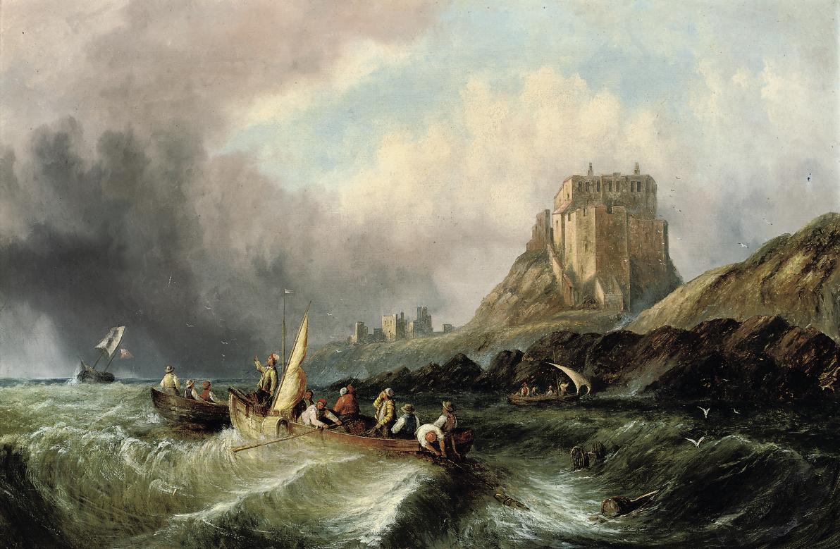 Fishermen hauling in their catch in a heavy swell below Lindisfarne Castle, Holy Island