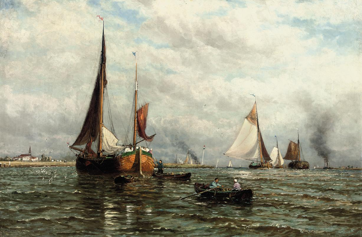 Barges and other shipping at the mouth of the river