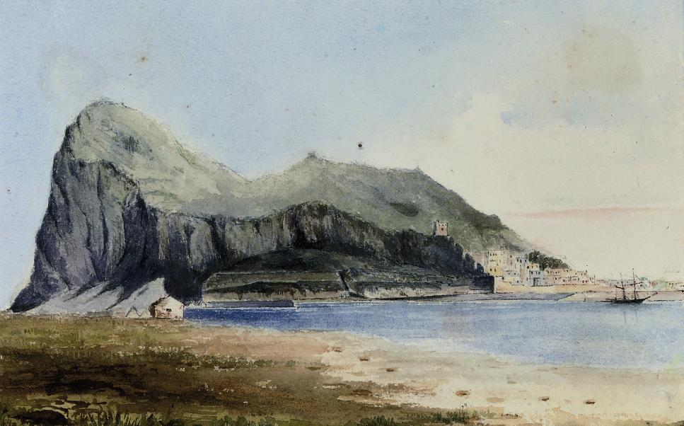 Gibraltar from Spain; The Rock of Gibraltar from Spain (illustrated); and Gibraltar looking south from the saluting battery