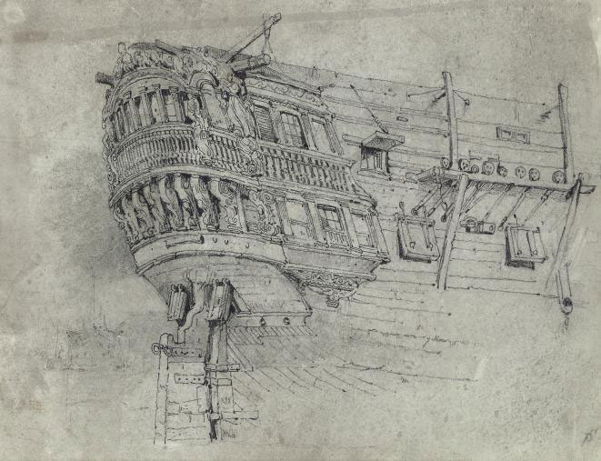 Study of the stern quarter of a warship