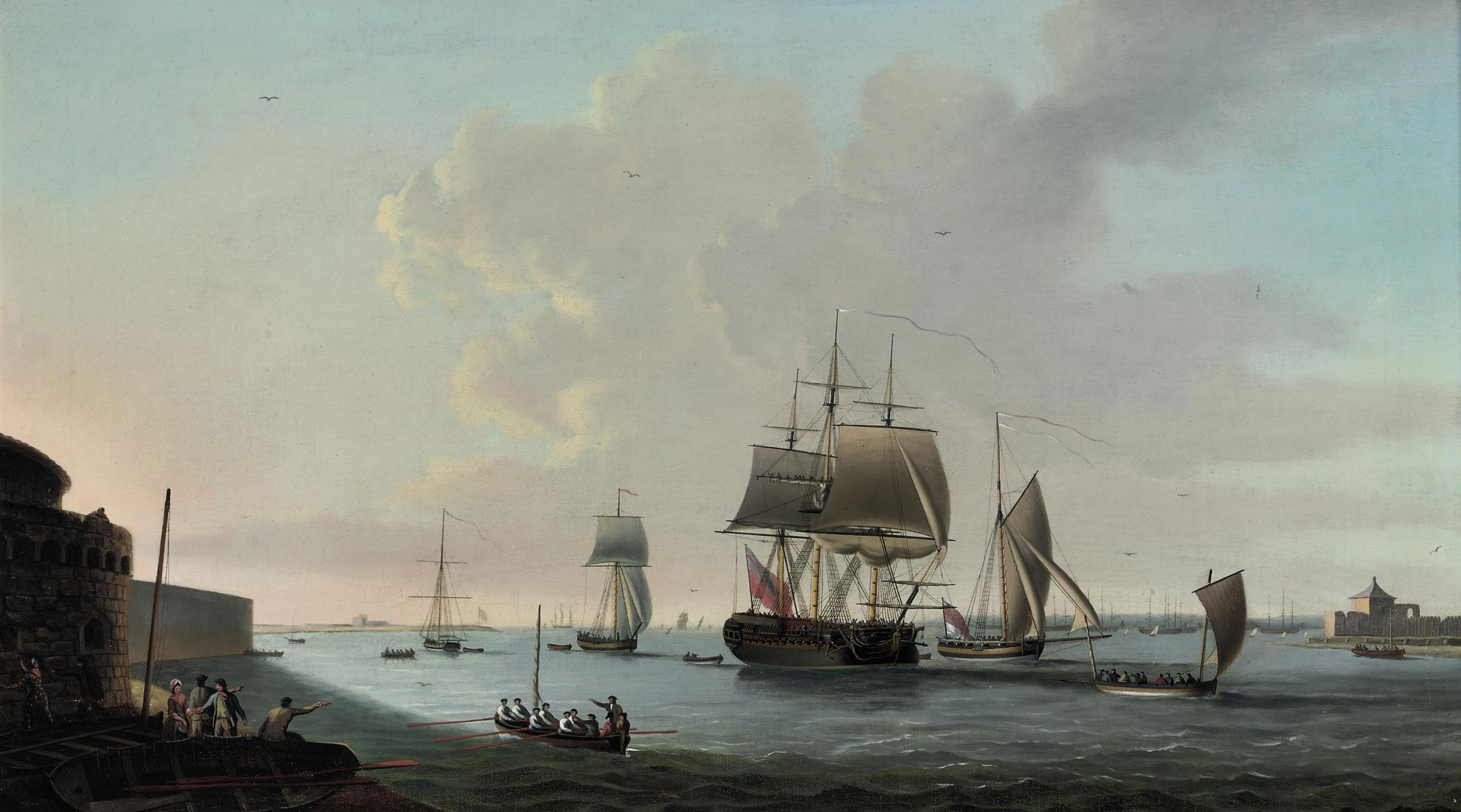 An English frigate running into Portsmouth harbour, with Fort Blockhouse off her port quarter
