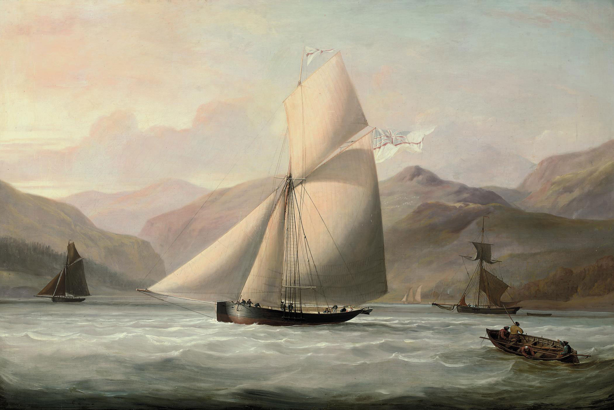 Sir John Bayley's cutter yacht Nymph flying the ensign of the Royal Yacht Squadron in Scottish waters