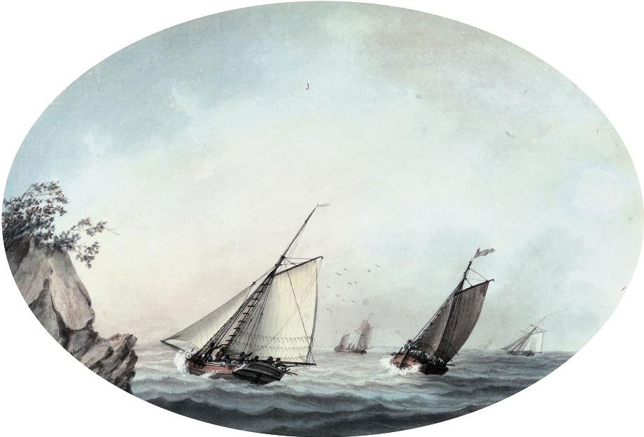 A crowded cutter and other shipping off a rocky headland