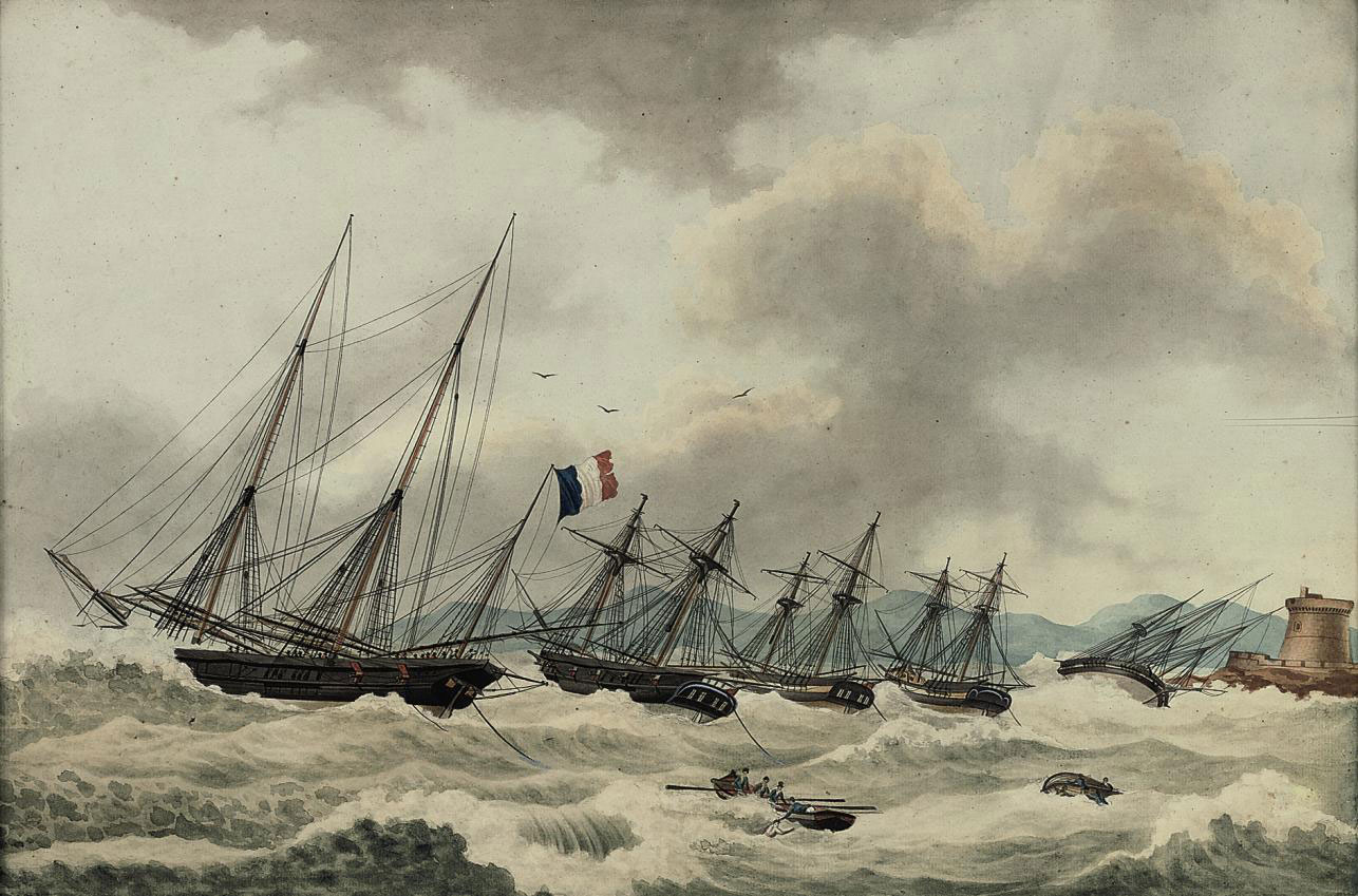 The French fleet riding out a storm in the bay of Tabarco off the Barbary coast