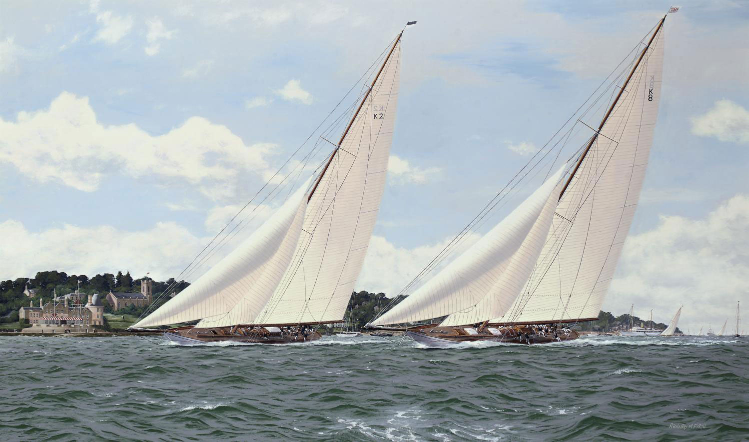 Candida and Astra vying for line owners off the Royal Yacht Squadron, Cowes