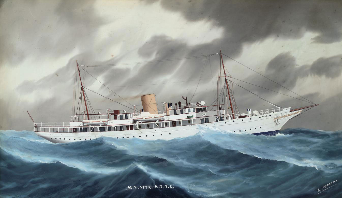 The Royal Thames Yacht Club's motor yacht Vita weathering the gale