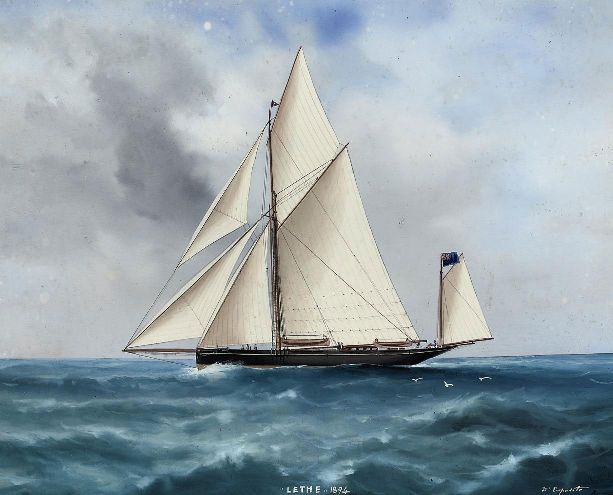 The racing yawl Lethe under full canvas (illustrated); and The racing yawl Lethe under reduced sail