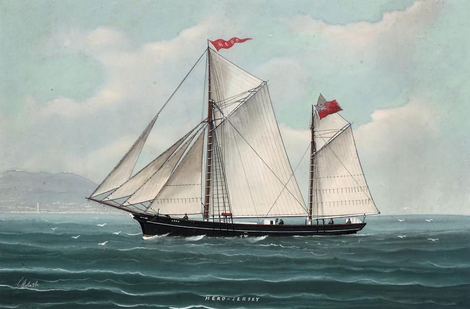 The Jersey ketch Hero in Mediterranean waters (illustrated); and The Jersey ketch Hero reefed-down in heavy seas