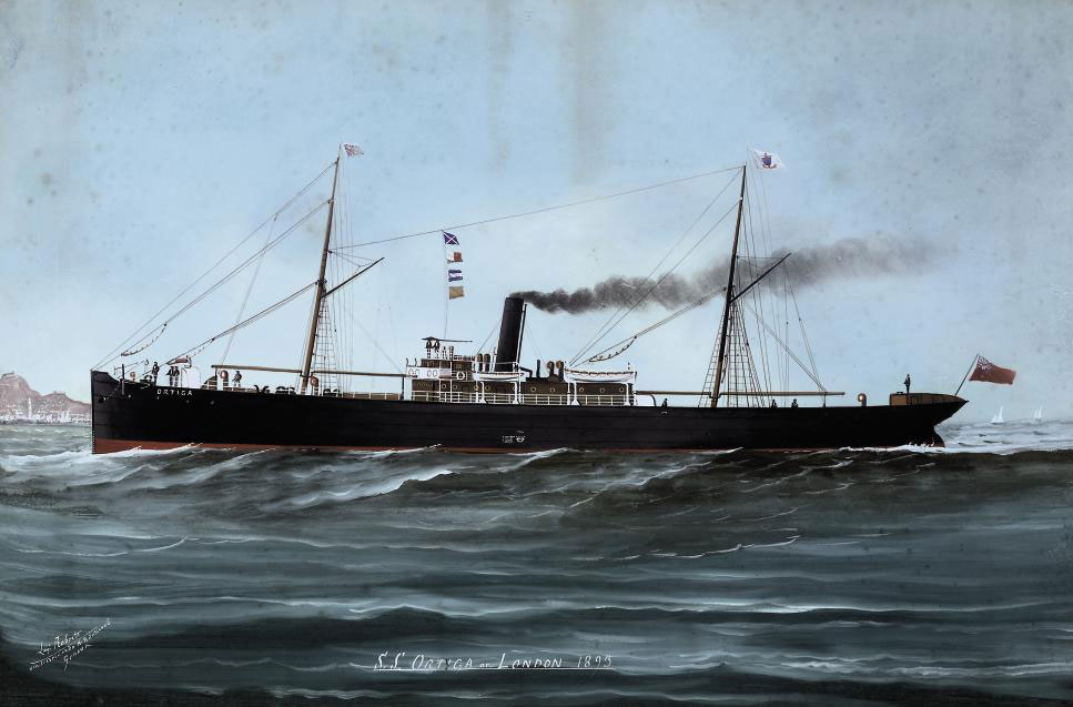 The S.S. Ortiga in full-steam off Genoa