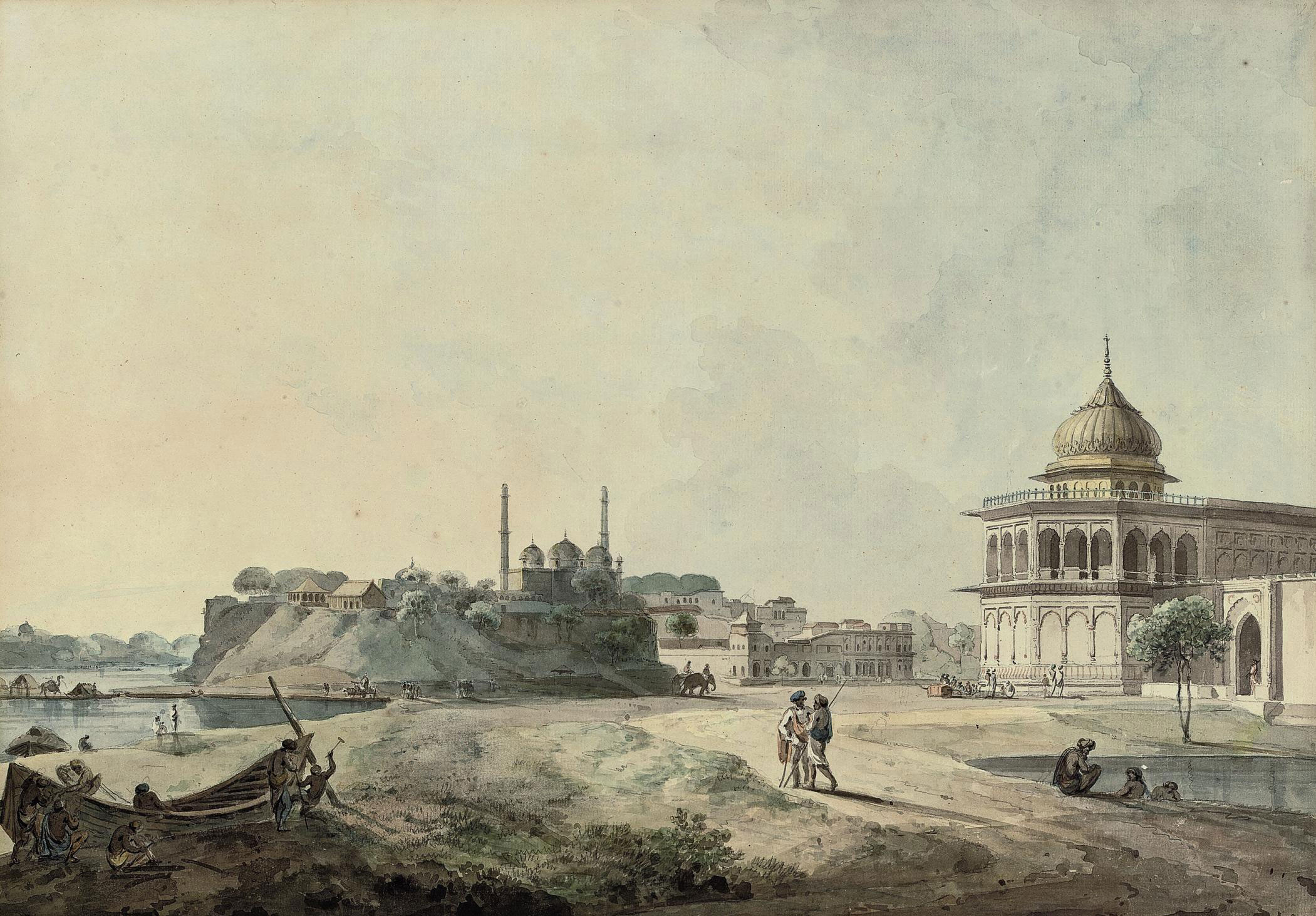 A view of Lucknow including part of the Palace of Nawab Asaf-ud-daulah, taken from the southen bank of the River Gumti