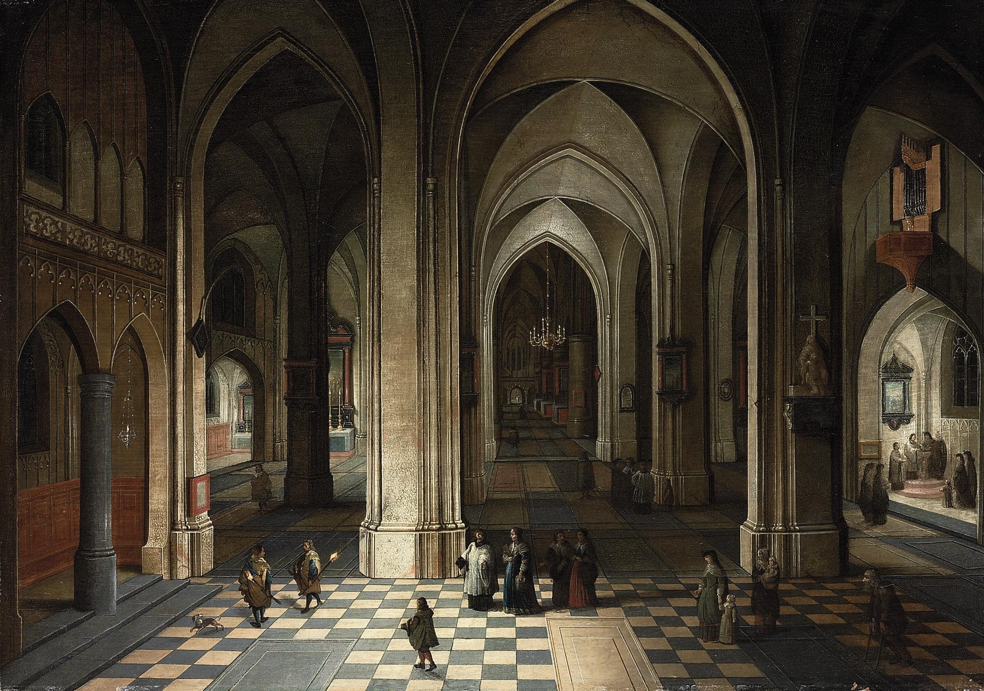 The interior of a cathedral at night, with elegant figures attending a Mass