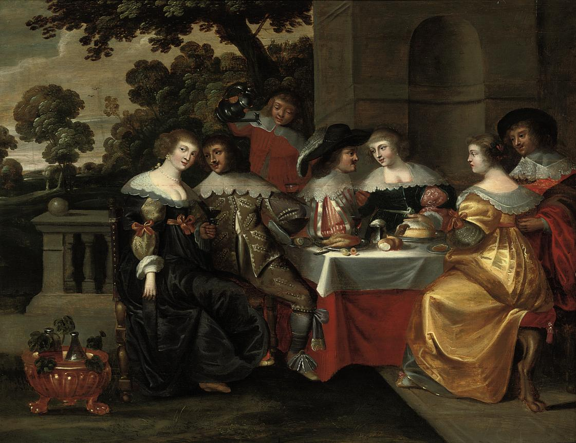 Elegant company courting in a classical courtyard