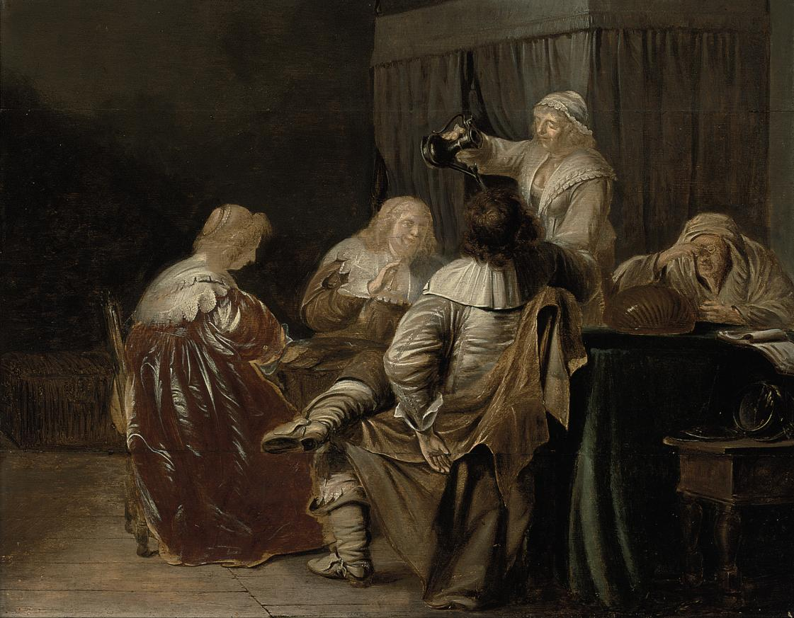 An interior with elegant company eating and drinking