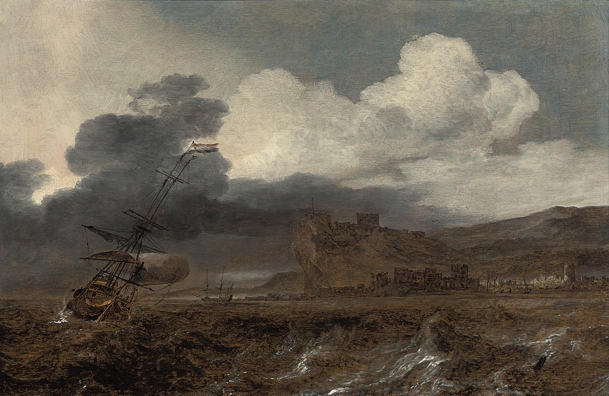 Dutch men-o'-war in choppy waters off a coast